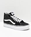 Vans Sk8-Hi zapatos de skate con plataforma en negro y blanco