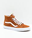 Vans Sk8-Hi zapatos de skate de ante marrón de cerdo