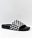 Vans Slide-On sandalias a cuadros en negro y blanco