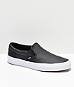 Vans Slip-On Black Tumbled Leather Skate Shoes