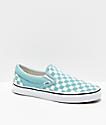 Vans Slip-On Checkerboard Aqua & White Skate Shoes