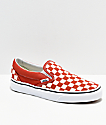 Vans Slip On Checkerboard Hot Sauce & White Shoes