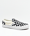 Vans Slip-On Checkered Black & White Sherpa Skate Shoes