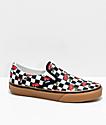 Vans Slip-On Cherry Black & Gum Checkered Skate Shoes