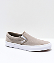 Vans Slip-On Desert Taupe & White Embossed Suede Skate Shoes