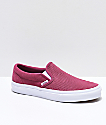 Vans Slip-On Dry Rose & White Embossed Suede Skate Shoes