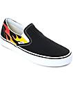 Vans Slip-On Flame zapatos de skate en blanco y negro