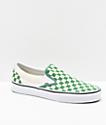 Vans Slip-On Green & White Checkerboard Skate Shoes