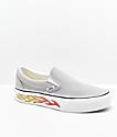 Vans Slip-On Grey, White & Flame Platform Skate Shoes