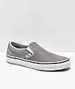 Vans Slip-On Grey & White Embossed Suede Skate Shoes