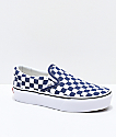 Vans Slip-On Medieval Blue & White Checkerboard Canvas Platform Skate Shoes