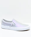 Vans Slip-On Muted Metallic Grey & White Skate Shoes