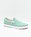 Vans Slip-On Neptune Green & White Skate Shoes