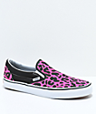 Vans Slip-On Pink & Black Leopard Print Skate Shoes