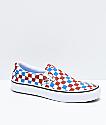 Vans Slip-On Pro zapatos de skate de cuadros azules y rojos