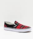 Vans Slip-On Red, Black & White Tartan Skate Shoes