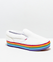 Vans Slip-On Shearling Rainbow Platform Skate Shoes