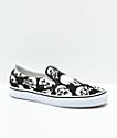 Vans Slip-On Skulls Black & White Skate Shoes