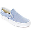 Vans Slip-On Speckle Jersey zapatos azules para mujeres