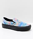 Vans Slip-On Tie Dye & Black Velvet Platform Skate Shoes