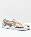 Vans Slip-On Tiger Eye Tan & White Checkered Skate Shoes