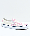 Vans Slip-On Zephyr Pink & White Checkered Skate Shoes