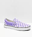 Vans Slip-On zapatos de skate de cuadros en blanco y violeta