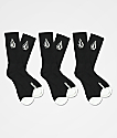 Volcom 3 Pack Full Stone Black Crew Socks