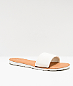 Volcom Simple White & Tan Slide Sandals