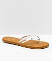 Volcom Thrills White & Khaki Thong Sandals