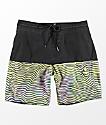 Volcom Vibes Halfstoner Black & Multi-Striped Board Shorts