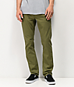 Volcom Vorta 5 Pocket Olive Green Slub Denim Jeans