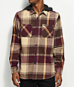 Volcom Wexler Cinnamon & Khaki Hooded Flannel