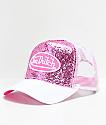 Von Dutch Pink & White Glitter Trucker Hat