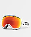VonZipper Skylab gafas de snowboard en blanco satinado y cromo rojo