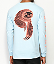 Welcome Sloth Light Blue Long Sleeve T-Shirt