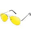 Yellow & Silver Aviator Sunglasses