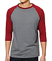 Zine 2nd Inning camiseta de béisbol gris jaspeado y rojo de marga