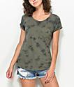 Zine Adriana Olive Tie Dye Pocket T-Shirt