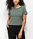 Zine Barnaby Green, White, & Red Stripe Crop T-Shirt
