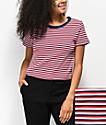 Zine Barnaby Red, White & Blue Stripe Crop T-Shirt