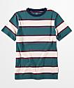 Zine Boys Slouch Teal Multi Stripe T-Shirt