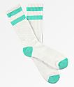 Zine Brawny Biscay Green & White Crew Socks