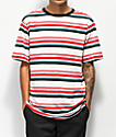 Zine Breaker Red, Blue & White Striped T-Shirt