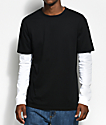 Zine Chilled Layered Black & White Long Sleeve T-Shirt