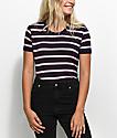 Zine Doris Burgundy & Mauve Stripe Ringer T-Shirt