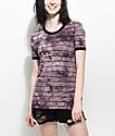 Zine Doris Purple Tie Dye Stripe Ringer T-Shirt
