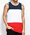 Zine Flavor camiseta sin mangas en azul, blanco y rojo