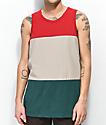 Zine Flavor camiseta sin mangas en rojo, marrón y verde