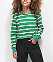 Zine Hannah Green & Yellow Striped Crop Long Sleeve T-Shirt